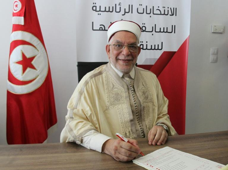 Abdelfattah Mourou, Tunisia's interim parliament speaker from the Islamist-inspired Ennahdha party, submits his candidacy for the September 15 presidential election (AFP Photo/HASNA)