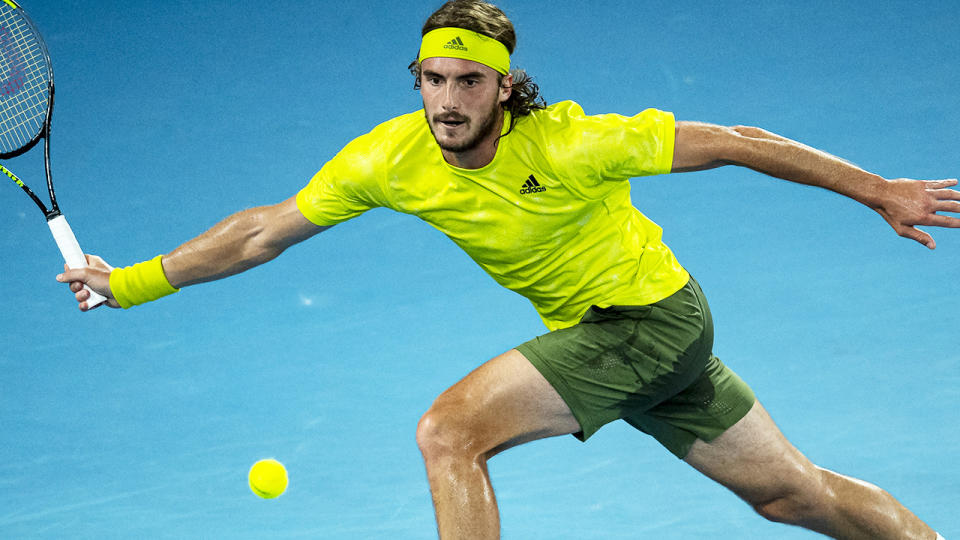 Stefanos Tsitsipas, pictured here in action against Rafael Nadal at the Australian Open.