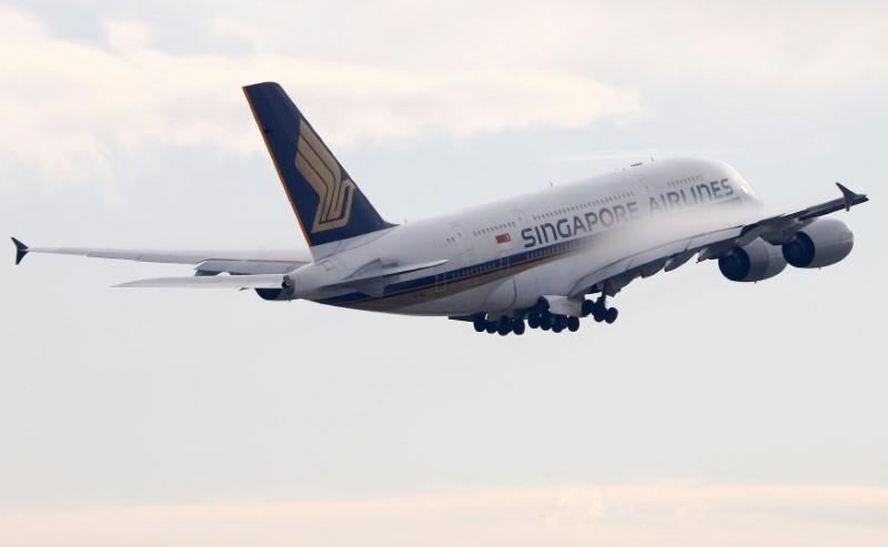 FILE PHOTO: Singapore Airlines Airbus A380-841 aircraft takes off from Zurich Airport