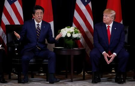 Japan's Prime Minister Abe meets with U.S. President Trump in New York City, New York