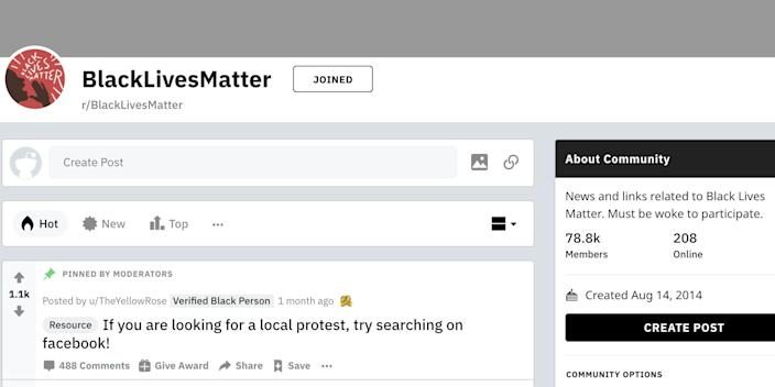 The r/BlackLivesMatter subreddit has seen a surge in participation over the past two months.