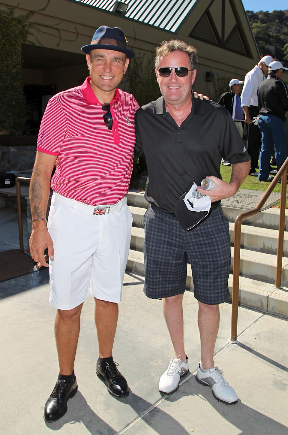 GLENDALE, CA - NOVEMBER 03: Piers Morgan (R) and Vinnie Jones attend the BAFTA LA Celebrity Golf Classic at Oakmont Country Club on November 3, 2014 in Glendale, California.  (Photo by David Buchan/Getty Images for BAFTA LA)