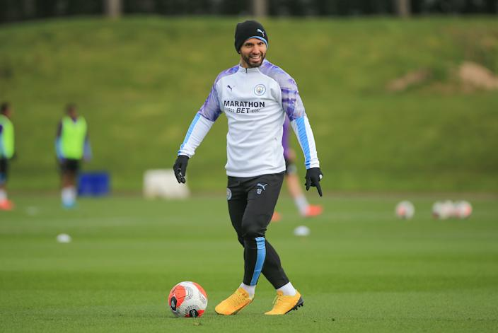 MANCHESTER, ENGLAND - MARCH 12: Manchester City's Sergio Aguero in action during training at Manchester City Football Academy on March 12, 2020 in Manchester, England. (Photo by Tom Flathers/Manchester City FC via Getty Images)