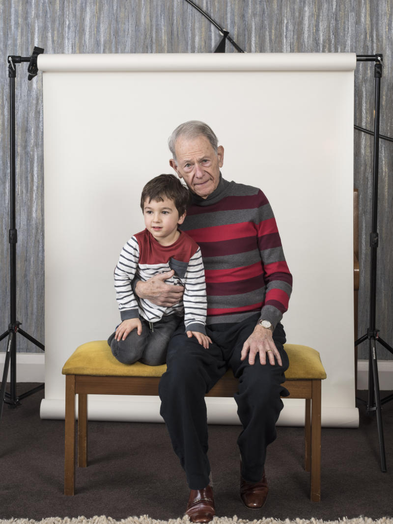 John Hajdu, aged 82, who survived the Budapest Ghetto, pictured with his grandson Zac, aged four