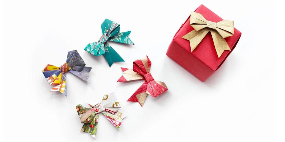 "<p>If the environmentalist in you can't stand tossing out those remnant bits of wrapping paper, you'll love this project. Called kirigami because it involves a few snips, this craft turns all those pretty scraps into unique and beautiful bows to top your holiday gifts.</p><p><em><a href=""https://www.goodhousekeeping.com/holidays/christmas-ideas/videos/a36070/how-to-create-a-paper-bow/"" rel=""nofollow noopener"" target=""_blank"" data-ylk=""slk:Get the how-to»"" class=""link rapid-noclick-resp"">Get the how-to»</a></em></p>"