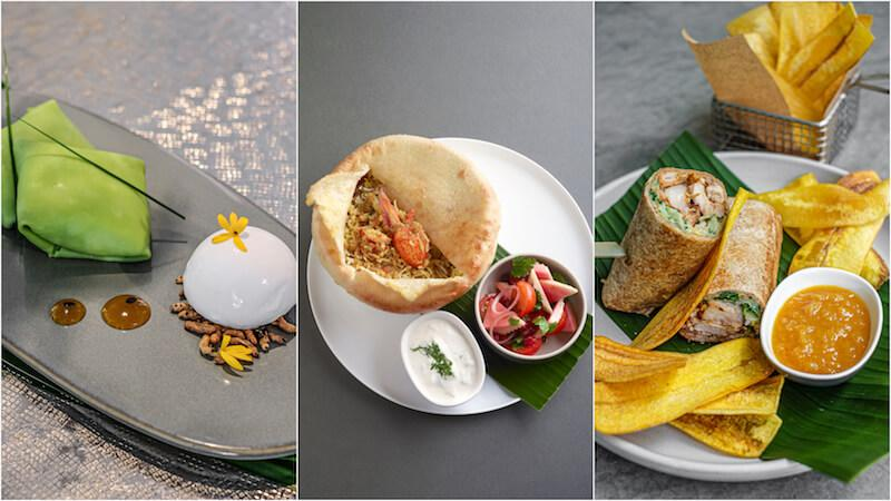 Pandan crepe, lobster biryani, and tandoori chicken wrap. Photos: Como Cuisine