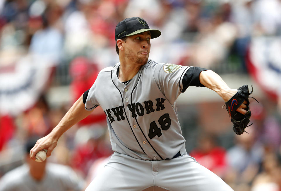 New York Mets starting pitcher Jacob deGrom (48) works against the Atlanta Braves in the first inning of a baseball game Monday, May 28, 2018, in Atlanta. (AP Photo/John Bazemore)