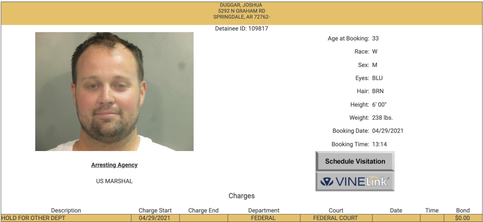 Josh Duggar pictured in his mugshot. (Photo: Washington County website)