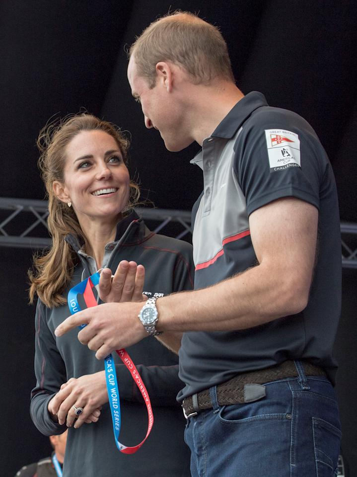 Britain's Kate, Duchess of Cambridge, and Prince William chat as they meet the competing teams in the Race Village after the  America's Cup World Series Race events in Portsmouth, Britain, July 24, 2016. REUTERS/Arthur Edwards/Pool