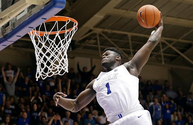 "<a class=""link rapid-noclick-resp"" href=""/ncaab/players/147096/"" data-ylk=""slk:Zion Williamson"">Zion Williamson</a> was arguably the story of college basketball this season. (AP Photo/Gerry Broome, File)"