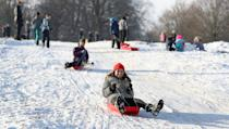 Some took advantage of snowy slopes, including Davina Armitage who sledged at Tatton Park in Knutsford, Cheshire. (PA)