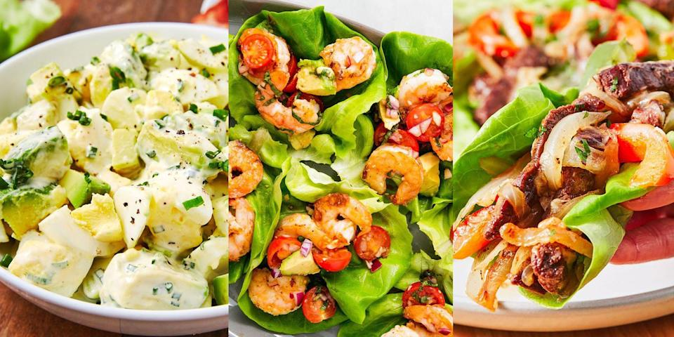 "<p>Deciding what you're going to have for <a href=""https://www.delish.com/uk/cooking/recipes/g29890570/healthy-lunch-ideas/"" rel=""nofollow noopener"" target=""_blank"" data-ylk=""slk:lunch"" class=""link rapid-noclick-resp"">lunch</a> is already a pretty difficult task, let alone when it needs to be low carb. But don't fret! Because we've pulled together our favourite lunchtime recipes that are perfect for you low carb dieters. We're talking <a href=""https://www.delish.com/uk/cooking/recipes/a34959586/avocado-shrimp-salad-lettuce-wraps-recipe/"" rel=""nofollow noopener"" target=""_blank"" data-ylk=""slk:Basil Avocado Prawn Salad Wraps"" class=""link rapid-noclick-resp"">Basil Avocado Prawn Salad Wraps</a> (insanely delicious), <a href=""https://www.delish.com/uk/cooking/recipes/a28839810/caprese-zoodles-recipe/"" rel=""nofollow noopener"" target=""_blank"" data-ylk=""slk:Caprese Courgetti"" class=""link rapid-noclick-resp"">Caprese Courgetti</a> and <a href=""https://www.delish.com/uk/cooking/recipes/a31327674/keto-bacon-sushi-recipe/"" rel=""nofollow noopener"" target=""_blank"" data-ylk=""slk:Keto Bacon Sushi"" class=""link rapid-noclick-resp"">Keto Bacon Sushi</a>. Go wild with some of our favourite low carb lunch recipes.</p>"