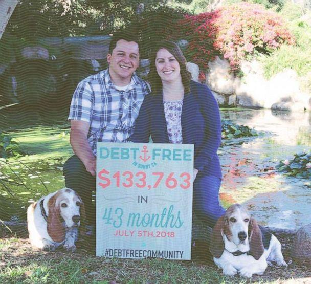 Amanda Williams and her husband Josh share the announcement that they are debt-free on July 5, 2018. (ABC Photo Illustration / Photo Courtesy Amanda Williams)