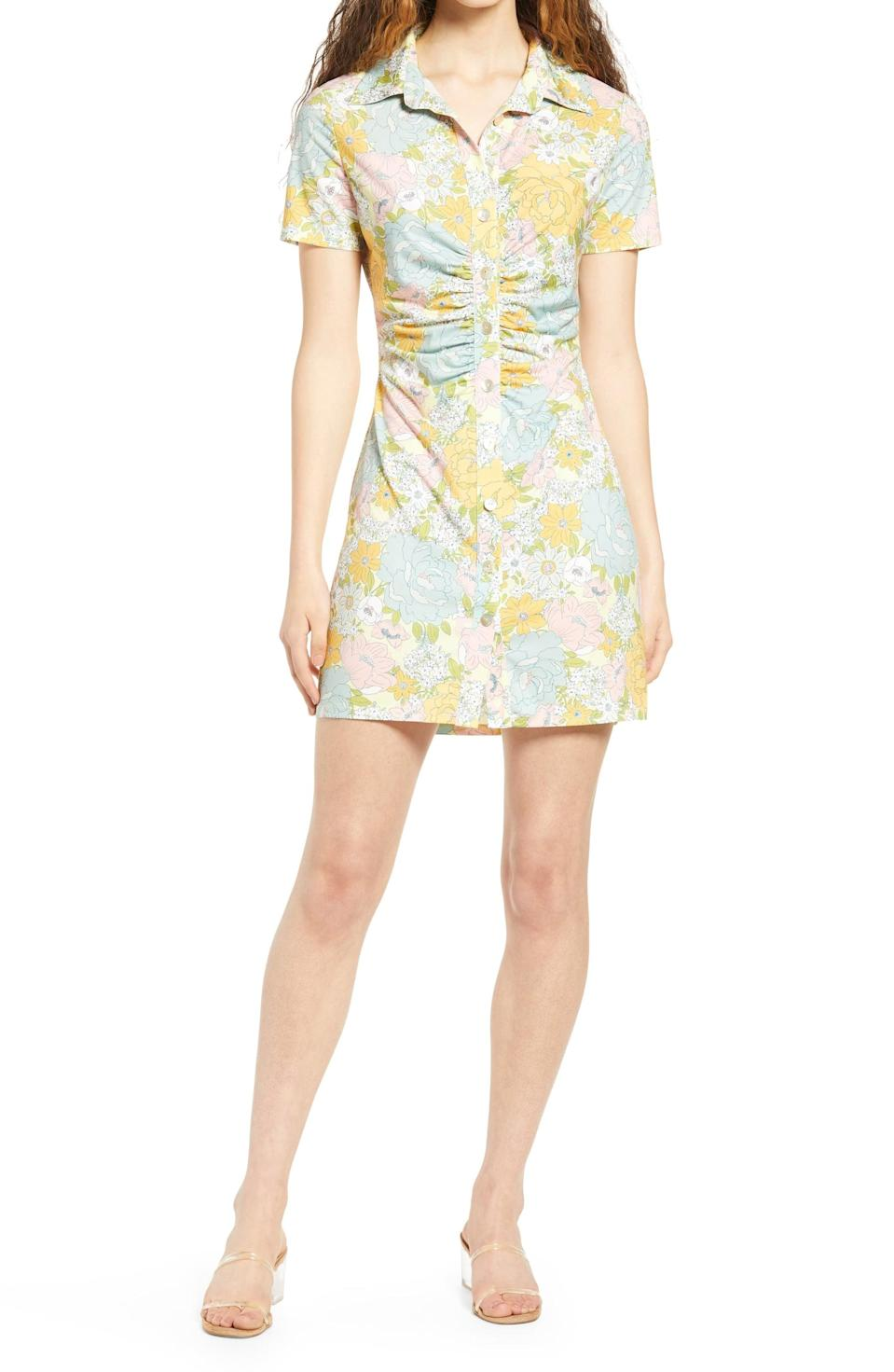 <p>This <span>WAYF Jennifer Ruched Shirtdress</span> ($58) is a step above the rest, that will look great with clear strap sandals or white sneakers.</p>
