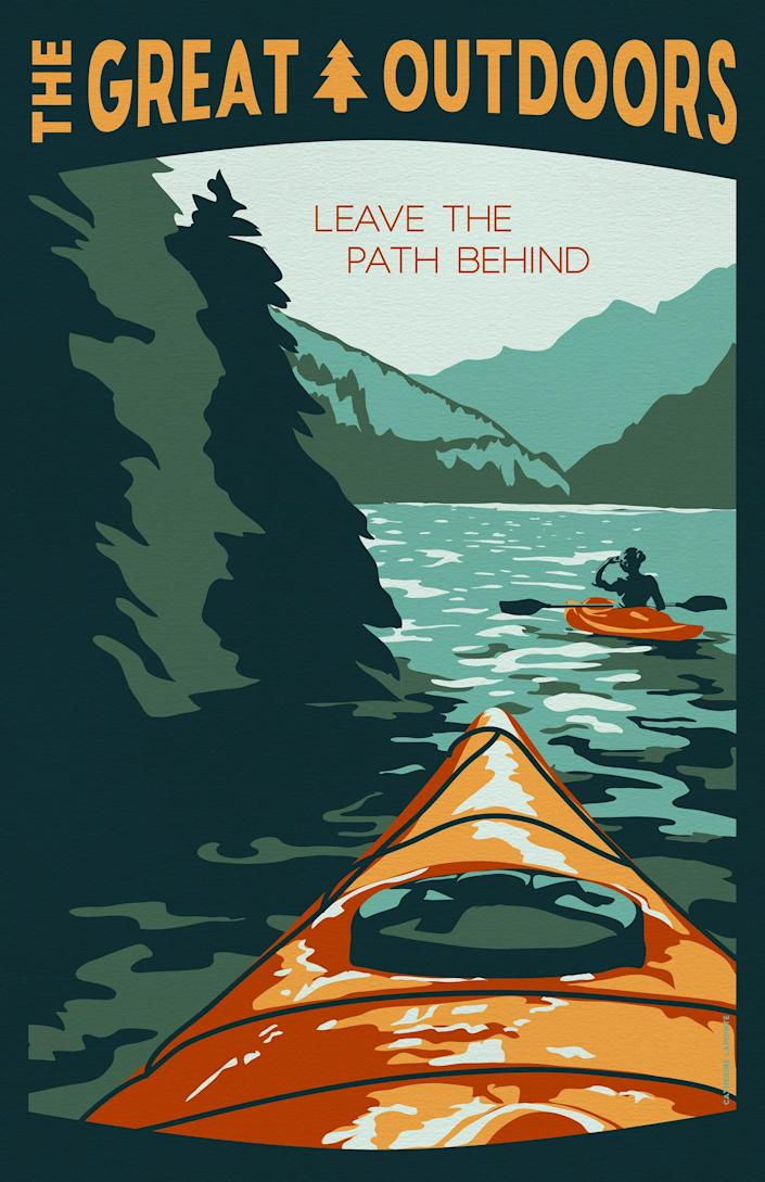 A kayak travel poster by Catherine LaPointe Vollmer.