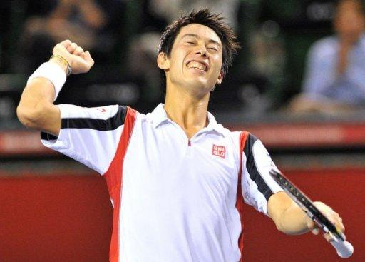Nishikori celebrates his win over world number six Tomas Berdych in the quarters