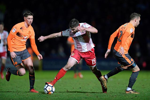 Soccer Football - FA Cup Third Round - Stevenage vs Reading - The Lamex Stadium, Stevenage, Britain - January 6, 2018 Stevenage's Danny Newton in action with Reading's George Evans and Chris Gunter Action Images/Alan Walter