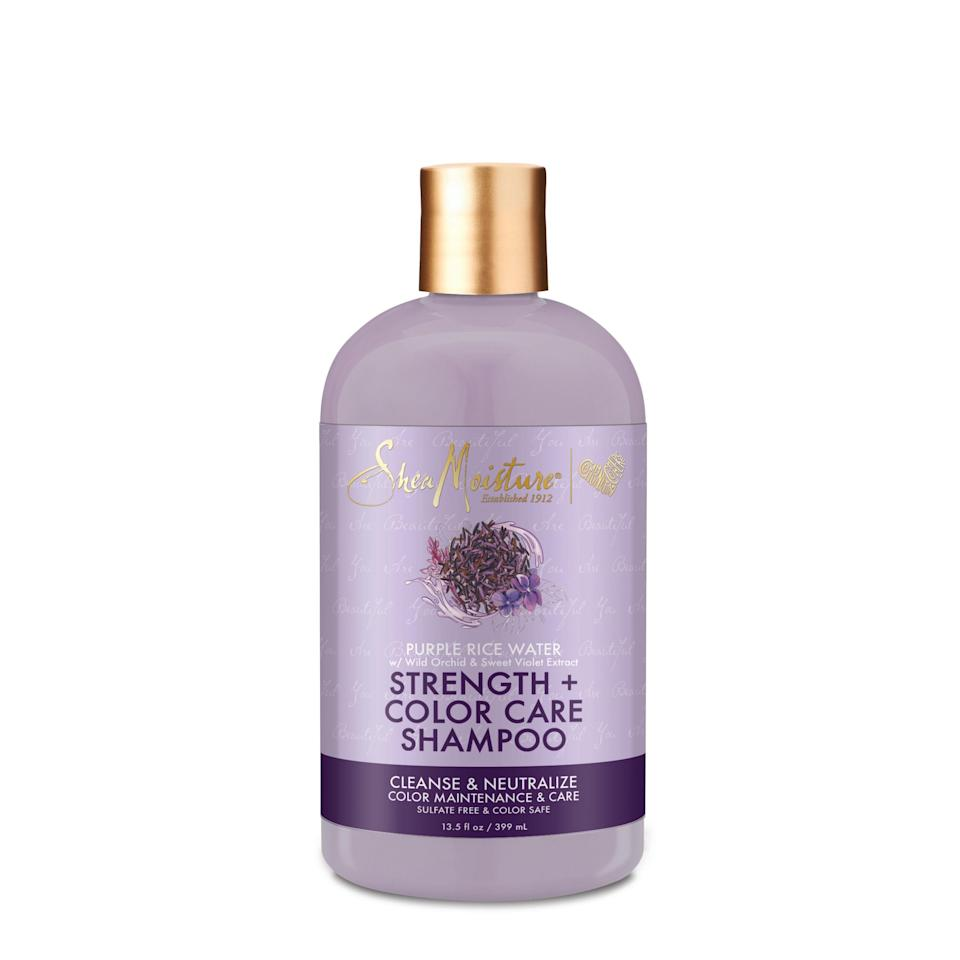 """<p><strong>SheaMoisture</strong></p><p>amazon.com</p><p><strong>$13.48</strong></p><p><a href=""""https://www.amazon.com/SheaMoisture-Purple-Strength-Shampoo-Damaged/dp/B082KZ24ZP?tag=syn-yahoo-20&ascsubtag=%5Bartid%7C10056.g.37059982%5Bsrc%7Cyahoo-us"""" rel=""""nofollow noopener"""" target=""""_blank"""" data-ylk=""""slk:Shop Now"""" class=""""link rapid-noclick-resp"""">Shop Now</a></p><p>Depending on how much you wash your hair, this purple rice water shampoo can be swapped in for your regular shampoo once or twice a week for extra color-boosting and strengthening properties.</p>"""