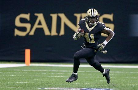Nov 5, 2017; New Orleans, LA, USA; New Orleans Saints running back Alvin Kamara (41) runs against the Tampa Bay Buccaneers in the second half at the Mercedes-Benz Superdome. The Saints won, 30-10. Chuck Cook-USA TODAY Sports