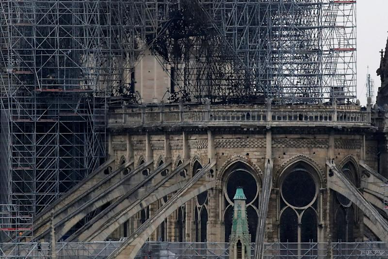 View of Notre-Dame Cathedral after a massive fire devastated large parts of the gothic gem in Paris, France April 16, 2019. REUTERS/Gonzalo Fuentes