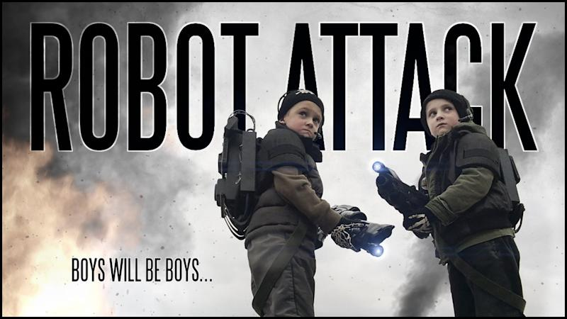 <p>Brian Vowles spent four years creating Robot Attack starring his two young sons Dylan, six, and Brandon, seven, in a film shot entirely on his iPhone.</p>