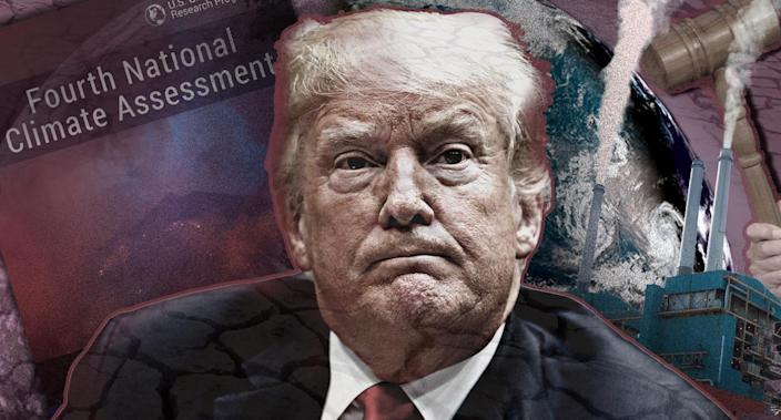 The National Climate Assessment is at odds with President Trump's energy policies. (Photo illustration: Yahoo News; photos: Evan Vucci/AP, AP)