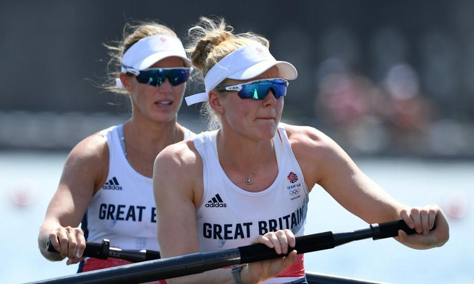 Team GB's Helen Glover and Polly Swann in the women's pairs heat.