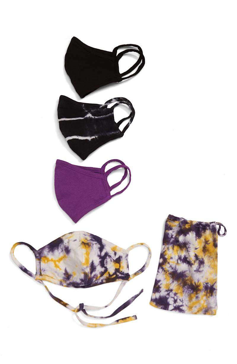 Assorted 4-Pack Adult Face Masks in Purple Tie Dye Combo