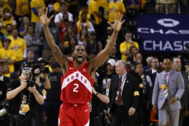 Kawhi Leonard #2 of the Toronto Raptors celebrates his teams win over the Golden State Warriors in Game Six to win the 2019 NBA Finals at ORACLE Arena on June 13, 2019 in Oakland, California. (Photo by Ezra Shaw/Getty Images)