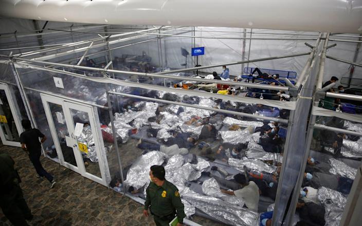 Unaccompanied children held in a Rio Grande Valley facility run by US Customs and Border Protection (CBP), in Donna, Texas. - AP