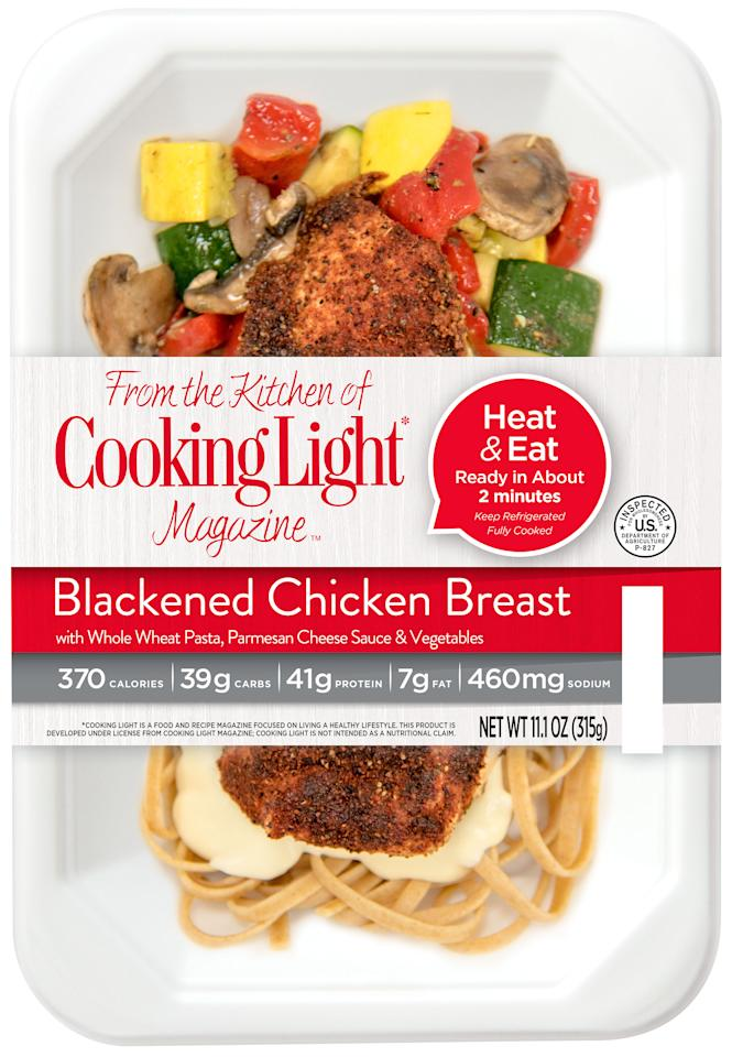 "<p>Food should be healthy and still taste great. Blackened chicken breast with a Parmesan cream sauce on a bed of whole wheat linguine served with a roasted vegetable succotash.</p>  <p>Perfect Fit Meals are <a rel=""nofollow"" href=""http://www.cookinglight.com/eating-smart/smart-choices/perfect-fit-meals"">available from multiple retailers</a>.</p>"