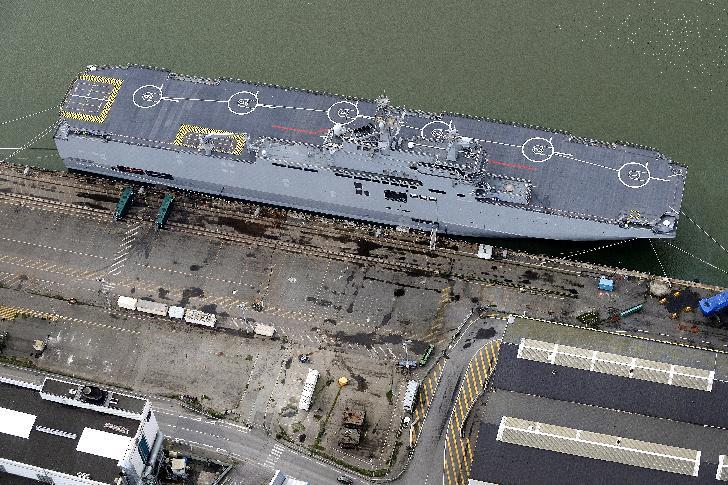 An aerial view shows the Vladivostok warship, a Mistral-class LHD amphibious vessel ordered by Russia from STX France, in Saint-Nazaire on December 20, 2014