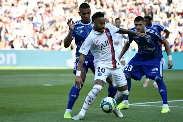 Neymar had not featured for PSG since May before Saturday's game against Strasbourg (AFP Photo/Martin BUREAU)
