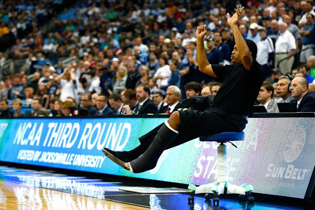 Georgia State coach Ron Hunter will make another trip to the NCAA Tournament this week, and his famous stool is coming with him. (Kevin C. Cox/Getty Images)
