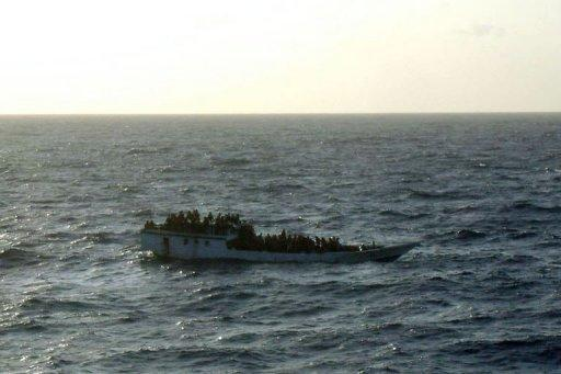 Photo taken by the MV Bison after arriving at the asylum-seeker boat before it capsized