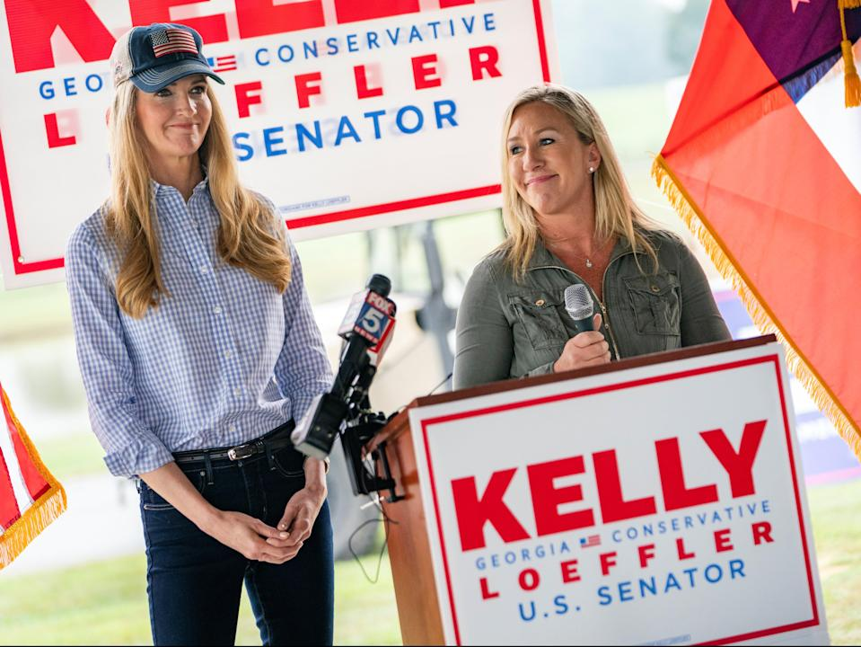 US Senator Kelly Loeffler and Republican U.S. House candidate Marjorie Taylor Greene speak at a news conference in Dallas, Georgia,  (REUTERS)