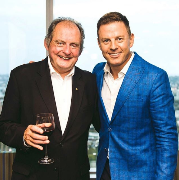 A photo of Ben Fordham with his late father, talent agent John Fordham.