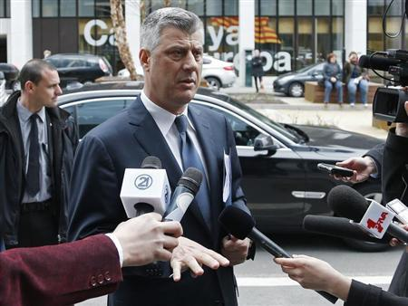 Kosovo's PM Thaci arrives for a meeting with Serbian PM Dacic and EU foreign policy chief Ashton in Brussels