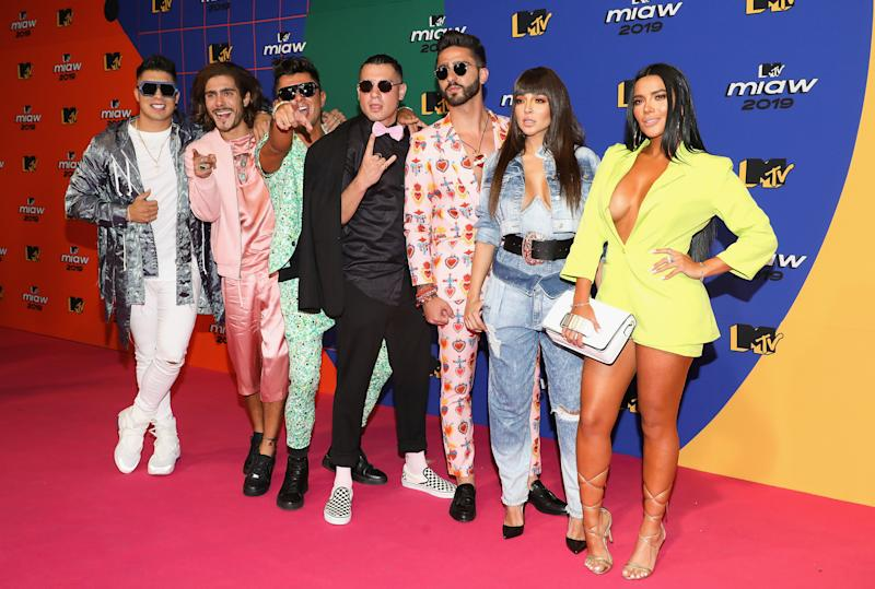 MEXICO CITY, MEXICO - JUNE 21: Cast members of Acapulco Shore Xavi, Jawi, Chile, Potro, Manelyk Gonzalez and Dania attend the red carpet of the MTV MIAW Awards at Palacio de los Deportes on June 21, 2019 in Mexico City, Mexico. (Photo by Victor Chavez/Getty Images)