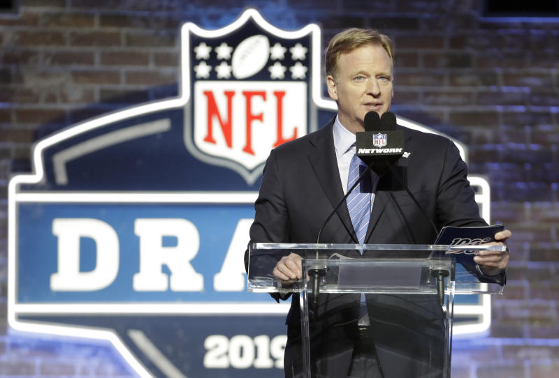 FILE - In this April 25, 2019, file photo, NFL Commissioner Roger Goodell speaks ahead of the first round at the NFL football draft in Nashville, Tenn. In a memo sent to the 32 teams Monday, April 6, 2020, and obtained by The Associated Press, NFL Commissioner Roger Goodell outlined procedures for the April 23-25 draft. The guidelines include no group gatherings. (AP Photo/Steve Helber, FIle)
