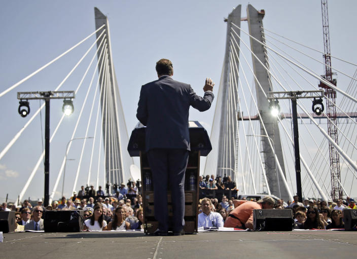 FILE - In this Aug. 24, 2017 photo, New York Governor Andrew Cuomo speaks at a ribbon cutting ceremony for the new Gov. Mario M. Cuomo Bridge, replacing the Tappan Zee Bridge in Tarrytown, N.Y. (AP Photo/Seth Wenig, File)