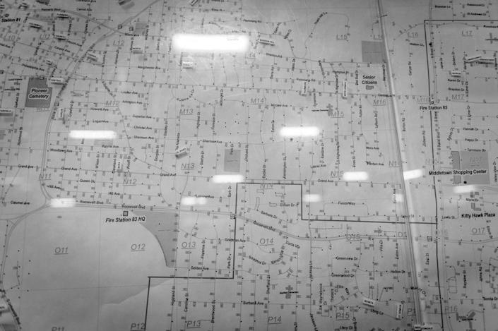 <p>A map at the Middletown Fire Department. The firemen say that overdose calls come in from all over town: This epidemic does not discriminate.<br> (Photograph by Mary F. Calvert for Yahoo News) </p>