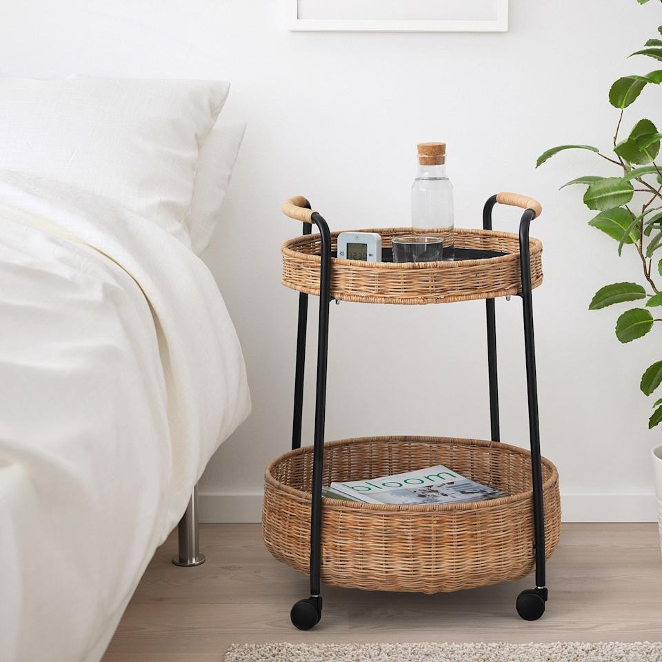 """<p>This on-trend rattan storage cart can work in every single room in your home. Let it stand in for a nightstand, or roll it into the living room to serve as a side table. </p> <p><strong>To buy: </strong>LUBBAN Serving Cart, $69, <a href=""""https://www.ikea.com/us/en/catalog/products/50434307/"""" target=""""_blank"""">ikea.com</a>. </p>"""