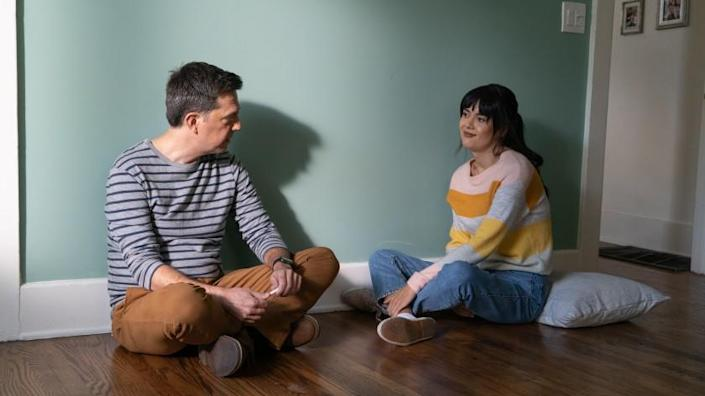 Ed Helms and Patti Harrison appear in 'Together Together,' written and directed by Nikole Beckwith. Credit: Tiffany Roohani/Bleecker Street