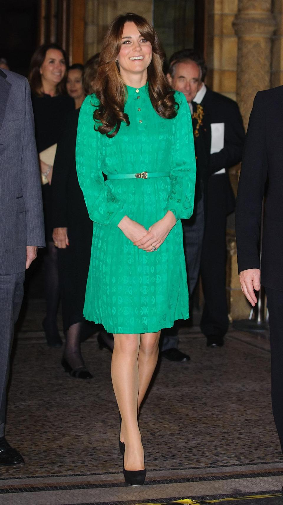 <p>Kate opened a gallery at the Natural History Museum in a green pleated shirt dress by Mulberry. She paired the look with Jimmy Choo platform pumps.</p><p><i>[Photo: PA]</i></p>