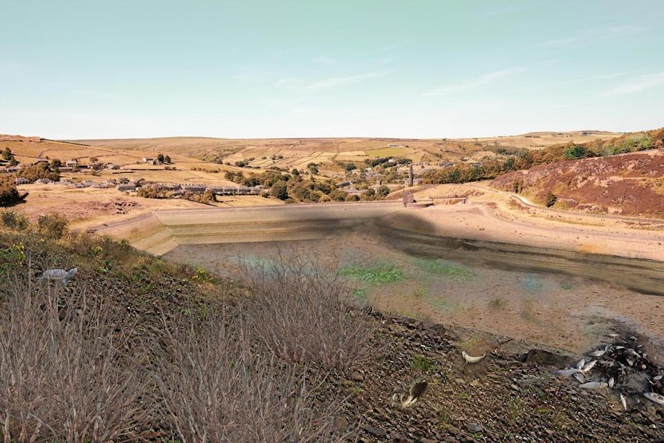 How Butterley Reservoir in West Yorkshire could look in 2071 (Yorkshire Water/PA)
