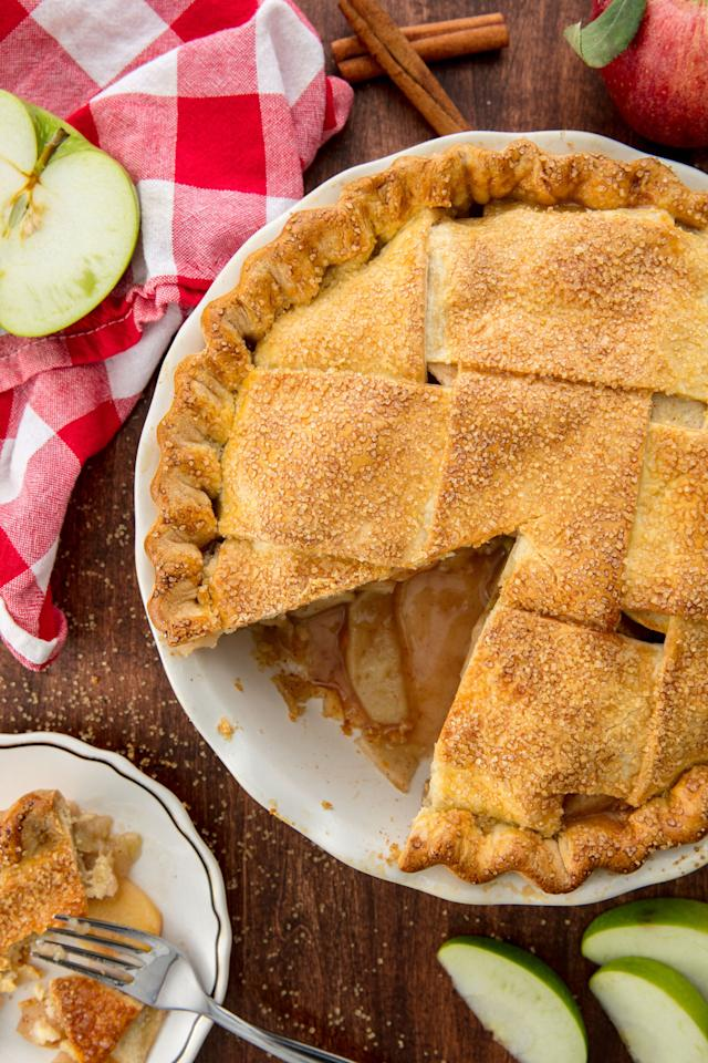 "<p>A homemade apple pie that will even impress your grandma.</p><p>Get the recipe from <a rel=""nofollow"" href=""http://www.delish.com/cooking/recipe-ideas/recipes/a55693/best-homemade-apple-pie-recipe-from-scratch/"">Delish</a>.</p>"
