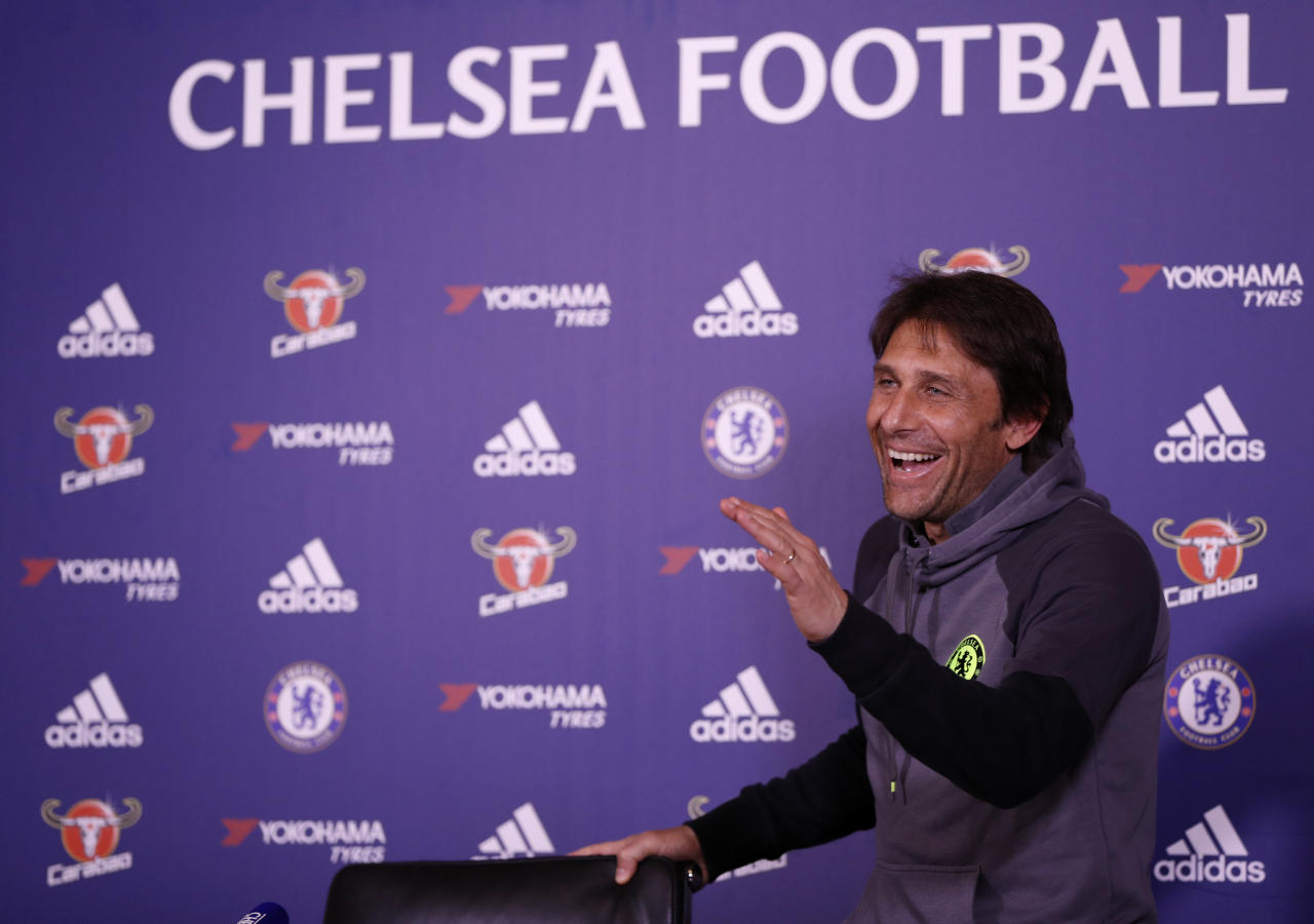 Britain Football Soccer - Chelsea - Antonio Conte Press Conference - Chelsea Training Ground - 24/4/17 Chelsea manager Antonio Conte during the press conference Action Images via Reuters / John Sibley Livepic EDITORIAL USE ONLY.