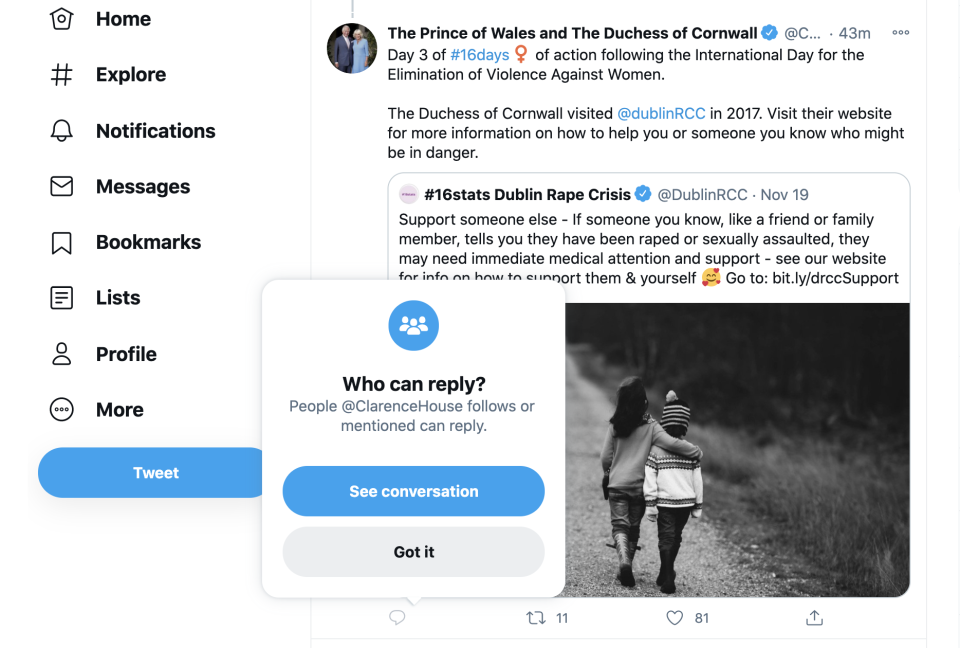 The settings appeared to change after a string of replies trolling the Duchess of Cornwall. (Twitter/Clarence House)