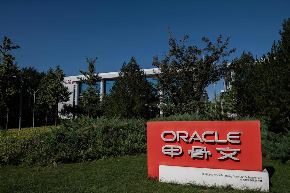 Oracle company signage is seen in front of the US-based technology company's office building in Beijing on September 16, 2020. (Photo by Nicolas Asfouri/AFP via Getty Images)